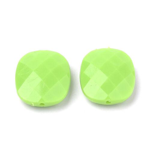 50pcs coloré Acrylique Rectangle Perles Facettes Opaque Finition Loose Spacer 23.5 mm