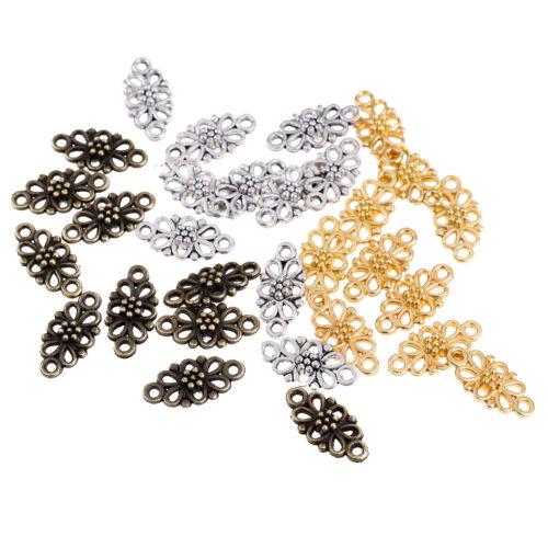 30pcs alliage métal vintage fleur connecteur Charms 16x8mm À faire soi-même Jewelry Making