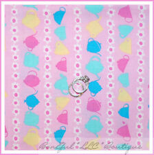 BonEful Fabric FQ Cotton Quilt PINK White Aqua Yellow Teapot Cup Flower Stripe S