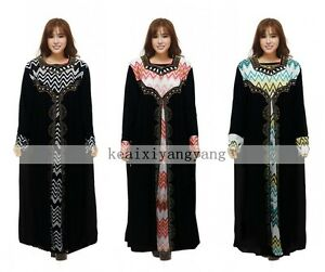 Muslim Black Kaftan Islamic Dress Hot Drill Arab Jilbab Abaya Long Maxi Dress