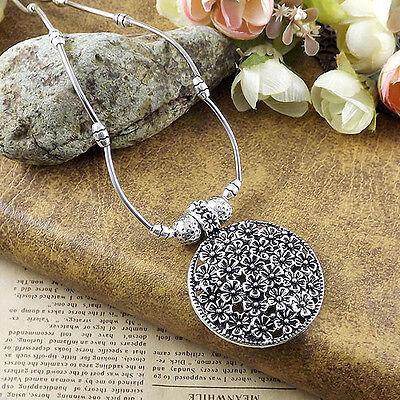"Bohemian round flower Pendant Tibetan Silver vintage Necklace Women girl 16"""