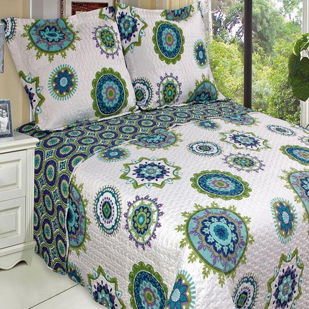 MgoldCCAN Boho MANDALA blueeee Green LIGHTWEIGHT Oversized Quilt Coverlet Set