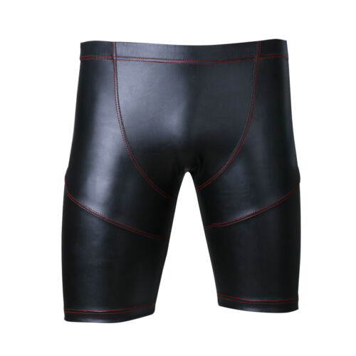 Men/'s Trunks Faux Leather Slim Fit Tights Boxer Shorts Sports Workout Hot Pants