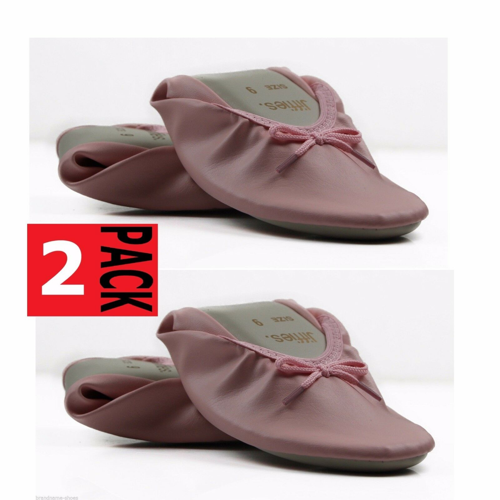 2 x PAIRS NEW PINK GROSBY JIFFIES WOMENS LADIES BALLET DANCE FLAT SLIPPER SHOES