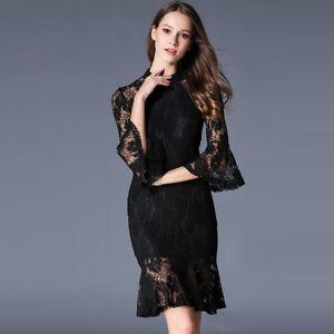 hot sale online 339e9 707c2 Dettagli su Elegante vestito abito nero pizzo maniche tubino slim morbido  4246