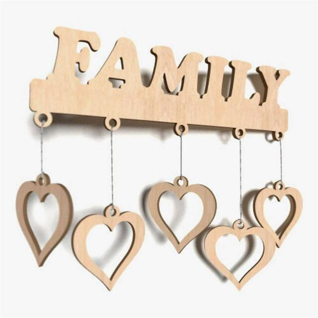 Wooden Family Plain Word Shapes Gift Tag Blank Decoration Craft Shape Plaque X33