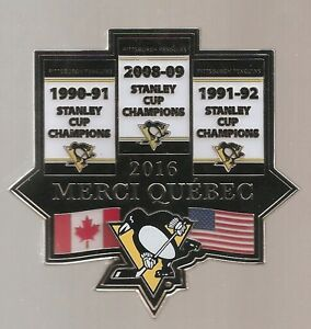 2016-Pittsburgh-Penguins-039-039-1991-92-2009-Stanley-Cup-Banners-039-039-Hockey-BIG-pin