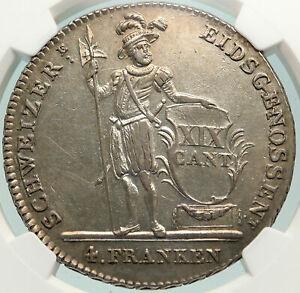 1814 SWITZERLAND LUCERNE Large Antique Swiss Silver 4 Francs Coin NGC i85153