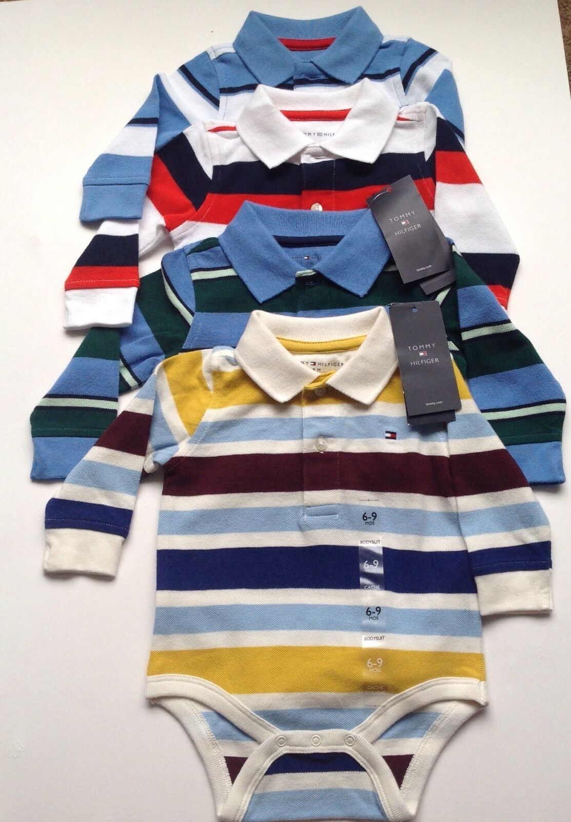 5c623df4b Tommy Hilfiger striped baby boys body suit baby grow long sleeves  3-6,6-9,12m | eBay