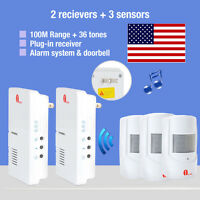 Wireless Us Plug Door Chime Driveway Motion Detector 3 Sensors 36 Melodies 100m