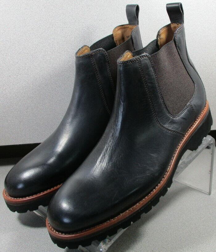 301857 TSPBT 50 Chaussures Hommes Taille 9 m Noir en Cuir à Enfiler Bottes H.S. Trask