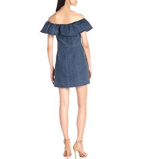 Kendall + Kylie Ruffle Off Shoulder Denim Dress Dress Dress Dark Rinse Sz M (K29) c84ef3