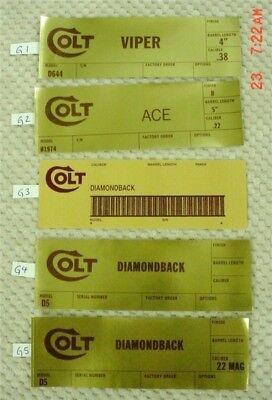 Gold Cup,trooper Colt Gold Foil Box End Labels,python Ace