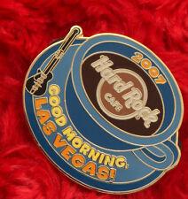Hard Rock Cafe Pin MUG good morning LAS VEGAS coffee guitar brown logo blue LE