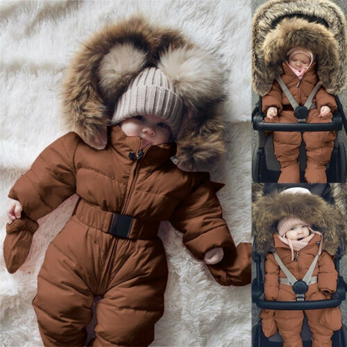 Toddler Baby Boy Girls Winter Romper Jacket Hooded Jumpsuit Thick Coat Outfit KD