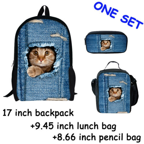 College Backpacks Blue Cute Cat Bags+Pencil Bags lunch bag Girl One Set Booksack