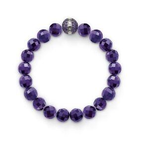 Thomas-Sabo-New-Sterling-Silver-Amethyst-Beaded-amp-Purple-CZ-Bracelet-159-A1080
