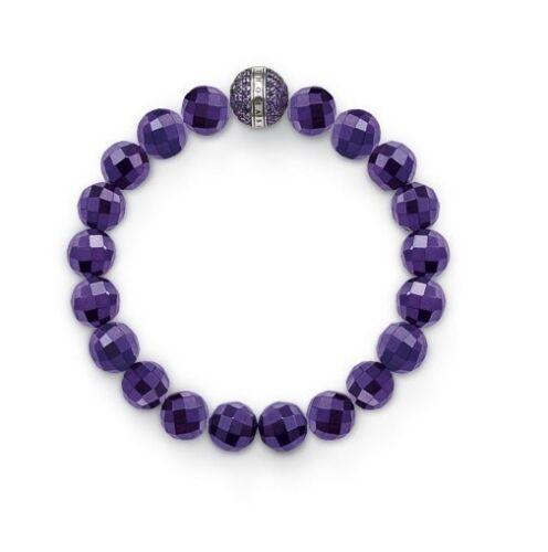 Thomas Sabo New  Sterling Silver Amethyst Beaded /& Purple CZ Bracelet £159 A1080