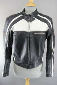 HEIN GERICKE BLACK & WHITE LEATHER BIKER JACKET WITH CE HIPROTEC ARMOUR: SIZE12