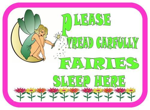 Faites attention fées dormir ici jardin signe plaque porte métallique signe