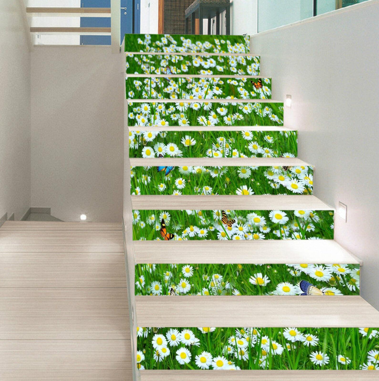 3D Weiß Blaume 1346 Stair Risers Dekoration Fototapete Vinyl Aufkleber Tapete DE