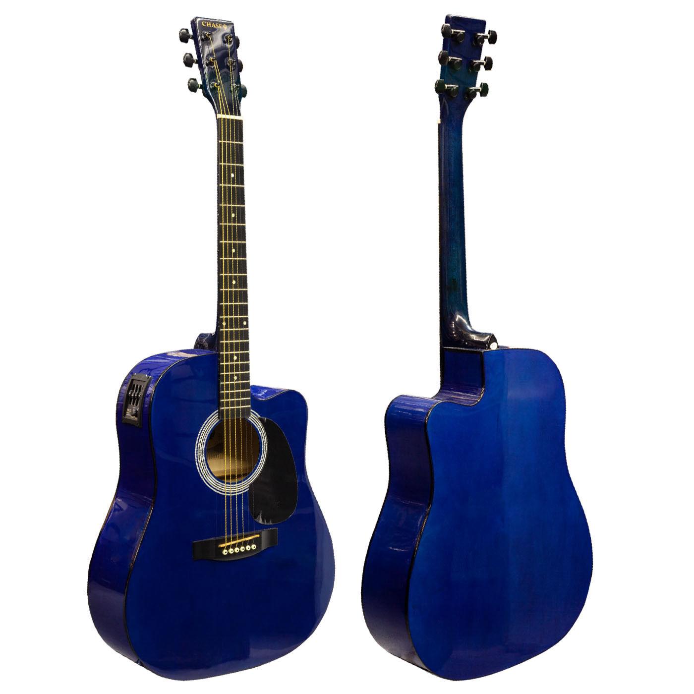 Chase SW203CETB Blau Dreadnought Electro Acoustic Guitar Cutaway Steel Strings c
