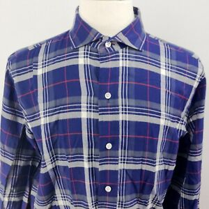 LEDBURY-Mens-Blue-Plaid-Long-Sleeve-Dress-Shirt-16-5-35-Pure-Baumwolle-Cotton