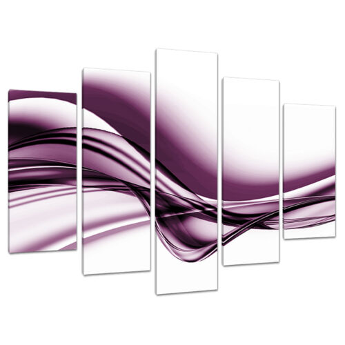 Set of Five Plum Abstract Canvas Pictures Living Room Wall Art 5032