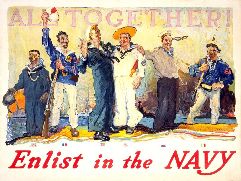 3560.All Enlist in the Navy patriotic POSTER.Home School Room art decoration