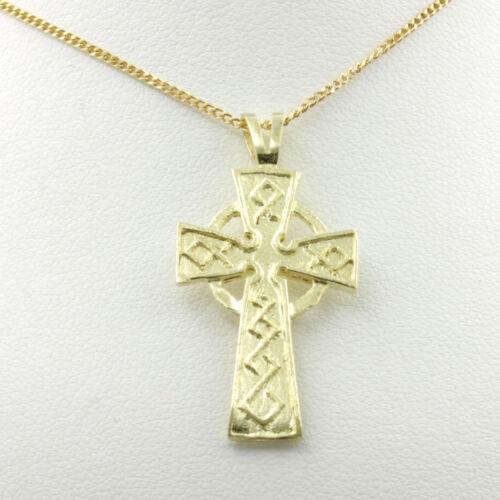 9ct Oro Amarillo Galés Diseño Colgante Cruz Celta Con O Sin Cadena de oro