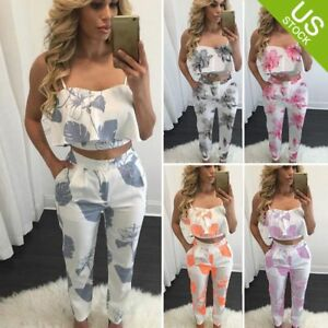 28f70e99ec Women 2 Piece Outfits Sleeveless Floral Print Crop Top Pants Set ...