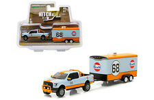 Greenlight Ford 150 2015 Gulf Oil with enclosed car hauler 1/64 32070 B ms1