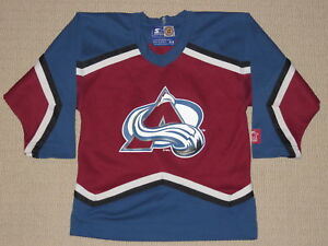 Image is loading NHL-Hockey-Vintage-90s-Colorado-Avalanche-Jersey-Kids- a9acff302