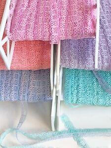 Vintage-Narrow-Lace-Trim-1-2-034-Tiny-8-yards-Lot-9a-b-c-d-e-Choose-Color-for-Crafts