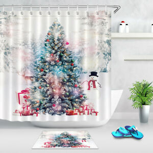 Image Is Loading Bathroom Decor Waterproof Fabric XMAS Tree Elk Snowman