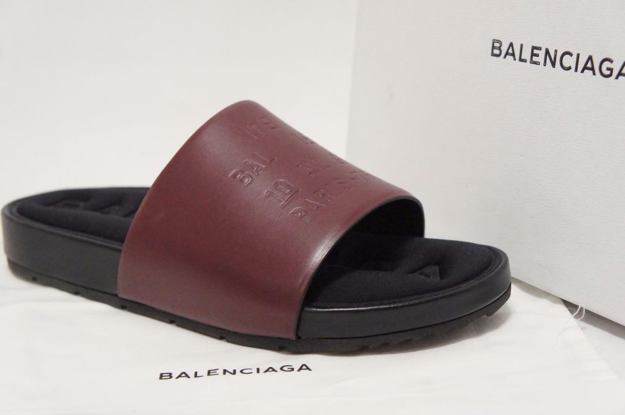 BALENCIAGA CLASSIC BURGUNDY LEATHER SANDALS SHOES 39 8