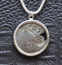 Authentic Ancient 1659 Pirate Copper Maravedis Coin 925 Sterling Silver Necklace