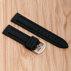 New-20-22-24-26-28mm-Watch-Band-Silicone-Rubber-Pin-Buckle-Black-Strap-Sport
