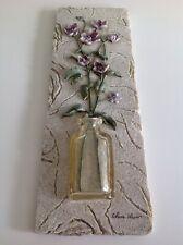 High Level of Details Flowers Ceramic Tile Wall Plaque Cheri Bloom Tile