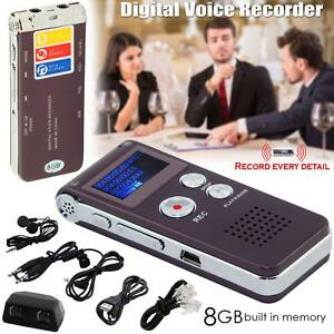 8GB Steel Voice Dictaphone Rechargeable Digital Sound Recorder MP3 Player Record 7625692202940