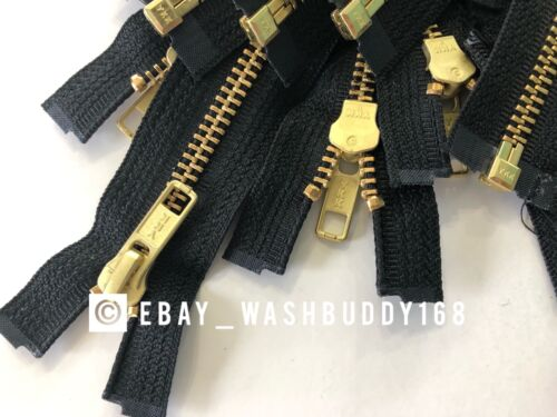 "10 pc YKK High Quality 36"" #5 Black Brass Metal Open End Zipper for Jacket Coat"
