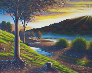 Original Acrylic Painting Dried Up Riverbed 24x30 Landscape by Timothy Stanford