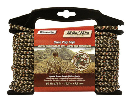 Dia x 50 ft SecureLine  1//4 in L Diamond Braided  Poly  Rope  Camouflage