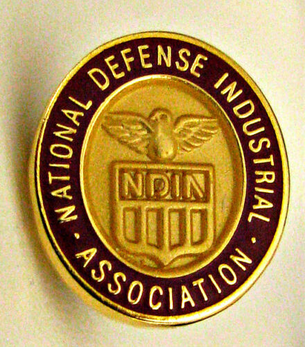 Vintage NDIA National Defense Industrial Ass/'n Red Enamel Lapel ⫸ 332B Pin