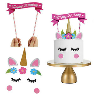 Image Is Loading Cute Cartoon Unicorn Happy Birthday Cake Topper Banner