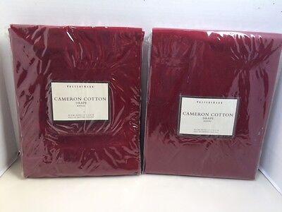 2 Pottery Barn Cameron Cotton Drapes Curtains 50x84 Rideau Burgundy Pole Top NEW