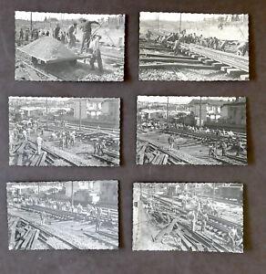 Fotografia-d-039-epoca-Ferrovie-Manutenzione-binari-Lotto-6-foto-anni-039-40