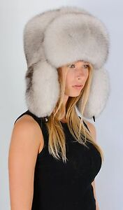 74bf2e03c3460 Saga Furs Natural White Fox Fur Men Women Unisex Russian Aviator ...