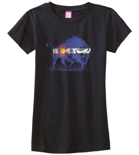 Buffalo Colorado Flag Girls Fitted T-Shirt Denver State Animal Pride