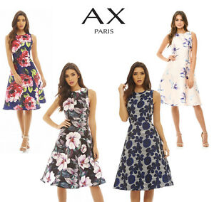 Image is loading AX-Paris-Womens-Floral-Printed-Midi-Skater-Dress- 2cb96ded6